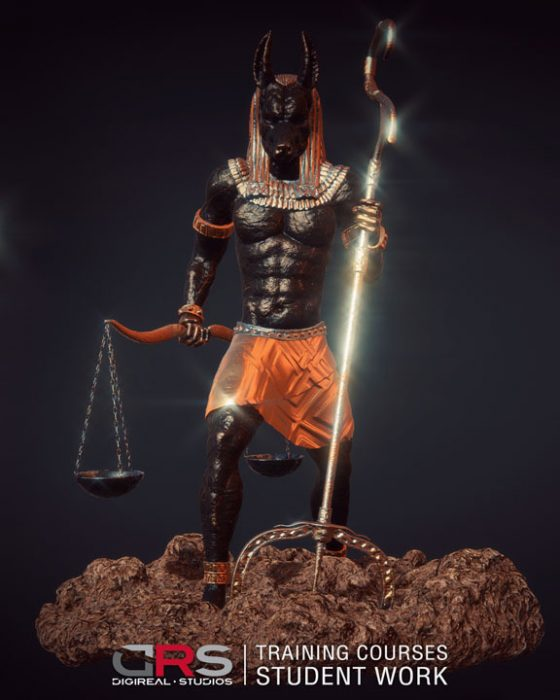 front view 3d model of anubis created in maya and zbrush in our 3d modeling, game design & 3d animation courses in Cyprus