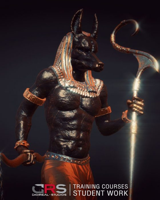 closeup view of a 3d model of anubis created in autodesk maya & zbrush in our game design & 3d animation courses in Cyprus