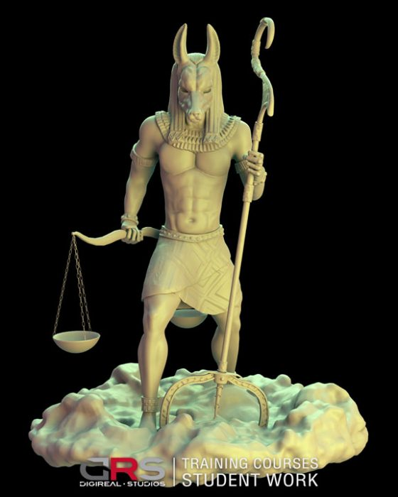 front view 3d model of anubis created in autodesk maya and zbrush in our game design & 3d animation courses in Nicosia Cyprus