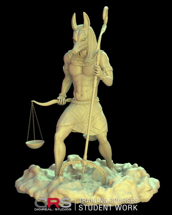 3/4 front view 3d model of anubis created in autodesk maya and zbrush in our game design & 3d animation courses in Cyprus