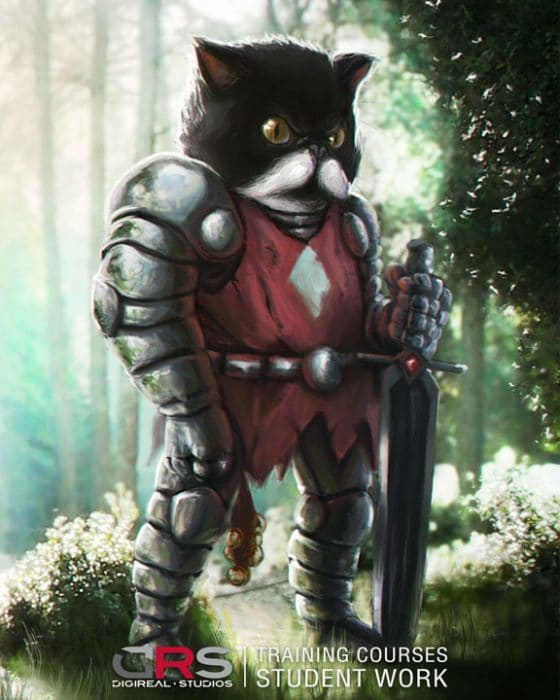 humanoid cat wearing a knights armor & holding a sword created in photoshop in our concept art & game design course in Cyprus