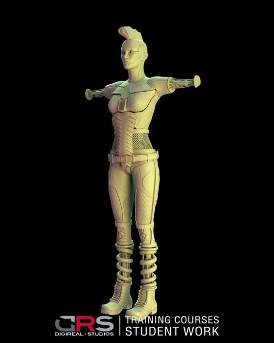3/4 front view of a 3d female cyborg created by a student in zbrush in our 3d modeling, game design & animation courses | Cy