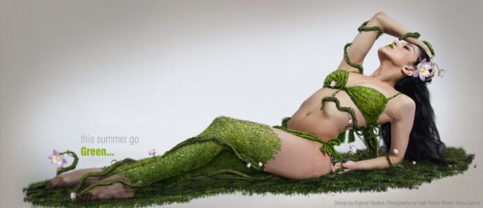 female model photography. The model wears knee socks and underwear made out of grass, flowers and vines