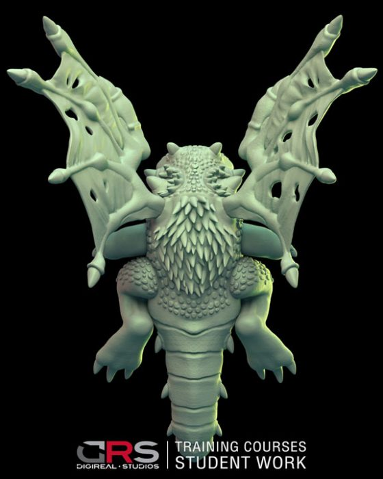 back view of a dragon 3d model created by a student in zbrush in our 3d modeling, game design & 3d animation course in Cyprus