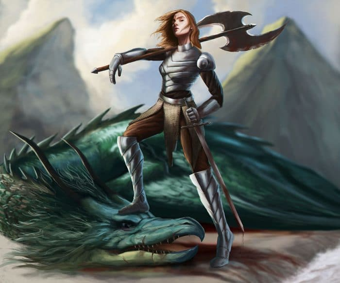 female dragon slayer character holding an axe over a dead dragon created in photoshop in our concept art course in Cyprus