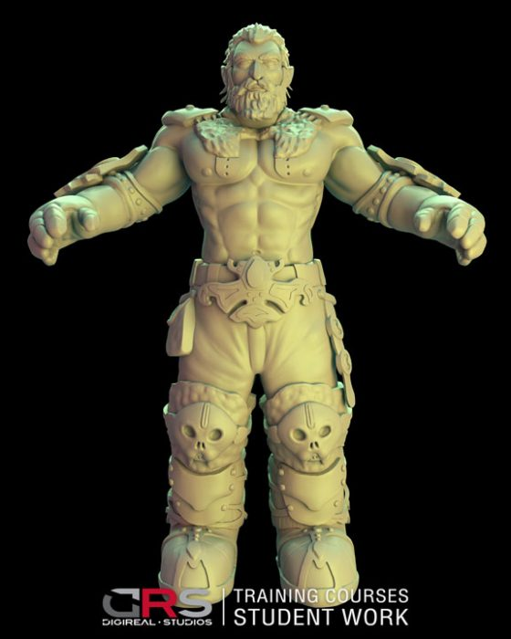 front view of a male dwarf warrior 3d model wearing armor created in zbrush in our 3d modeling & game design course in Cyprus