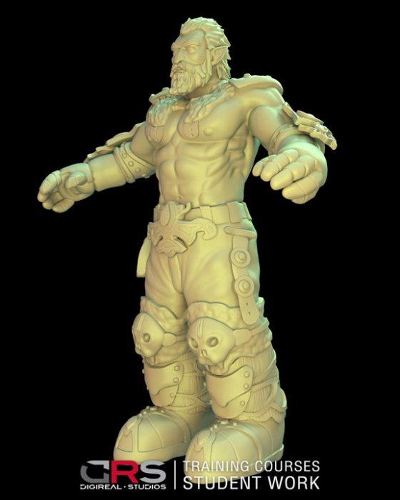 3/4 front view of a male dwarf warrior 3d model wearing armor created in zbrush in our 3d modeling & game design courses | Cy