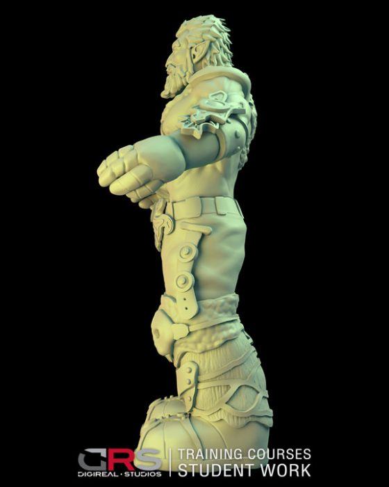 side view of a male dwarf warrior 3d model wearing armor created in zbrush in our 3d modeling & game design courses in Cyprus