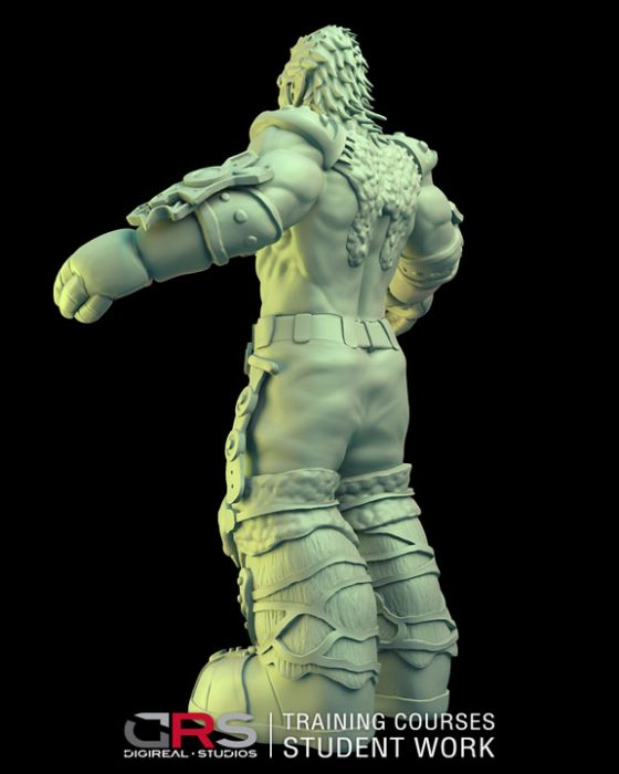 3/4 back view of a male dwarf warrior 3d model wearing armor created in zbrush in our 3d modeling & game design courses | Cy
