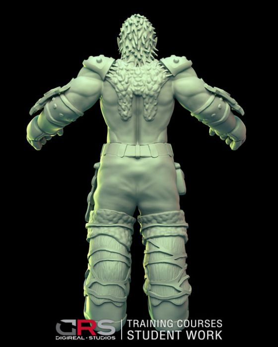 back view of a male dwarf warrior 3d model wearing armor created in zbrush in our 3d modeling & game design courses in Cyprus