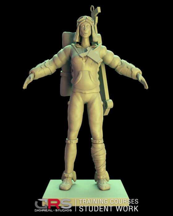 front view of a female explorer 3d model holding a weapon created in zbrush in our 3d modeling course in Nicosia, Cyprus