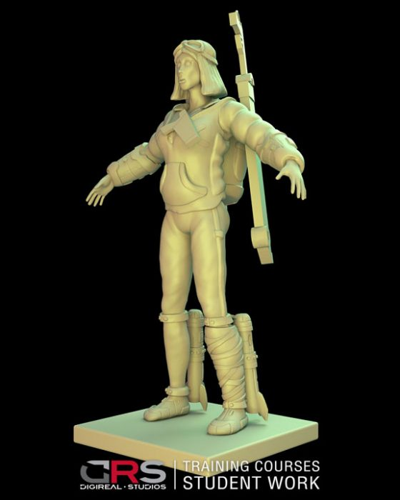 3/4 front view of a female explorer 3d model holding a weapon created in zbrush in our 3d modeling course in Nicosia, Cyprus