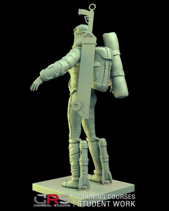 3/4 back view of a female explorer 3d model holding a weapon created in zbrush in our 3d modeling course in Nicosia, Cyprus