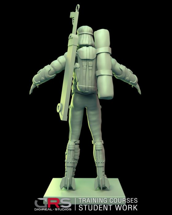 back view of a female explorer 3d model holding a weapon & camping equipment created in zbrush in our 3d modeling course | Cy