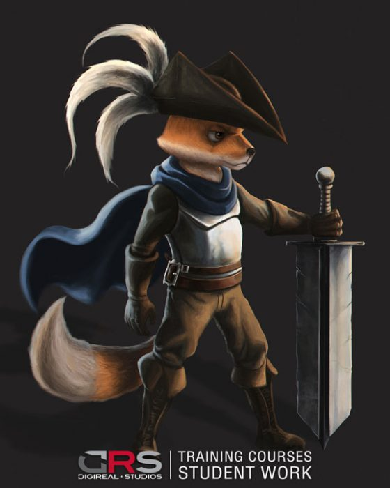humanoid male fox character holding a sword and wearing a hat and boots by a student in our game design course in Cyprus