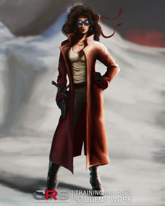 female warrior character wearing a long jacket created in photoshop by a student in our concept art course in Limassol Cyprus