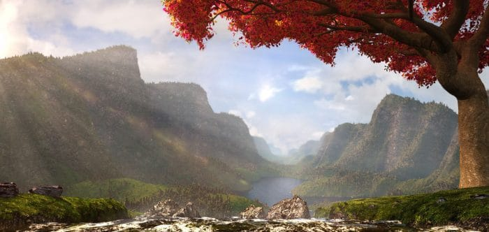 3d mountainside lake environment created in maya and zbrush in our 3d modeling, game design & 3d animation courses in Cyprus