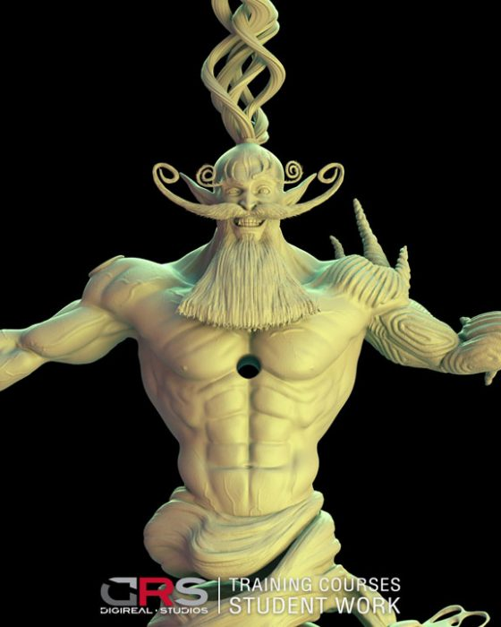 closeup front view of a djinn character 3d model created in zbrush by a student in our 3d modeling course in Paphos, Cyprus