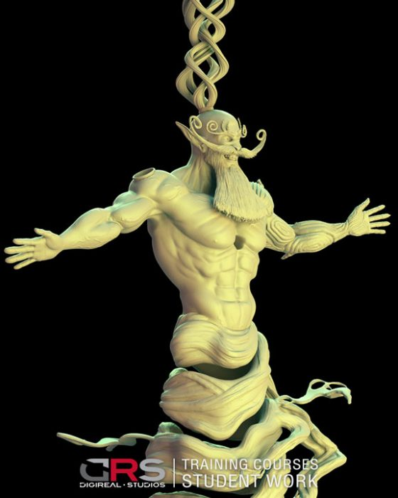 3/4 front view of a djinn character 3d model created in zbrush by a student in our 3d modeling & animation courses in Paphos