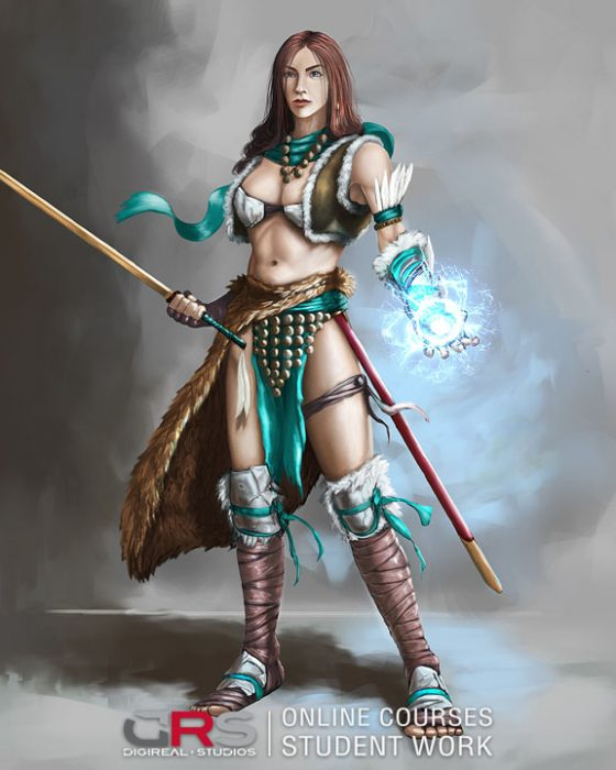 female character design holding a sword & an energy ball by a student in our game design & 3d animation courses in Cyprus