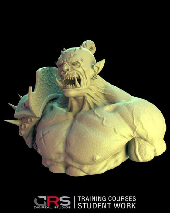 3/4 front view of an ork bust 3d model created by a student in our game design, 3d modeling & 3d animation courses in Cyprus