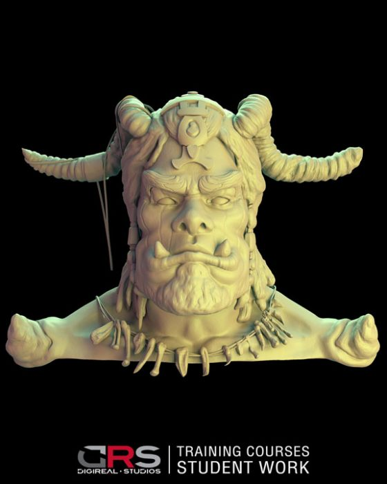front view of an ork bust 3d model created by a student in our game design, 3d modeling & 3d animation courses in Nicosia, Cy