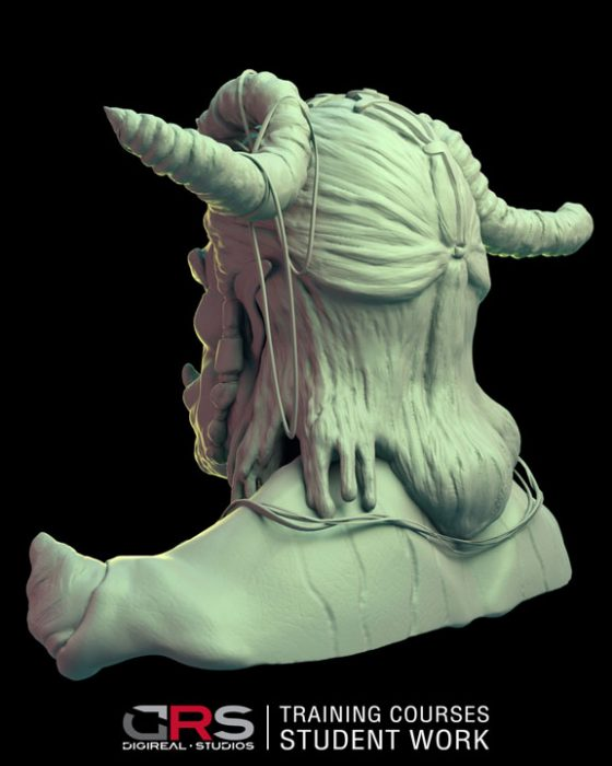 3/4 back view of an ork bust 3d model created by a student in our game design, 3d modeling & 3d animation courses in Nicosia