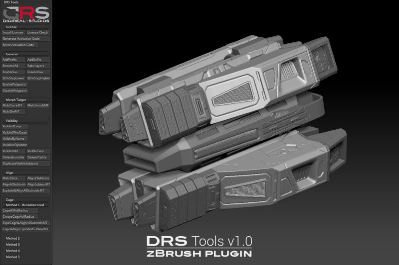 Sample image 6 of DRS Tools zBrush plugin for creating automatic cages for 3d models in 1 click