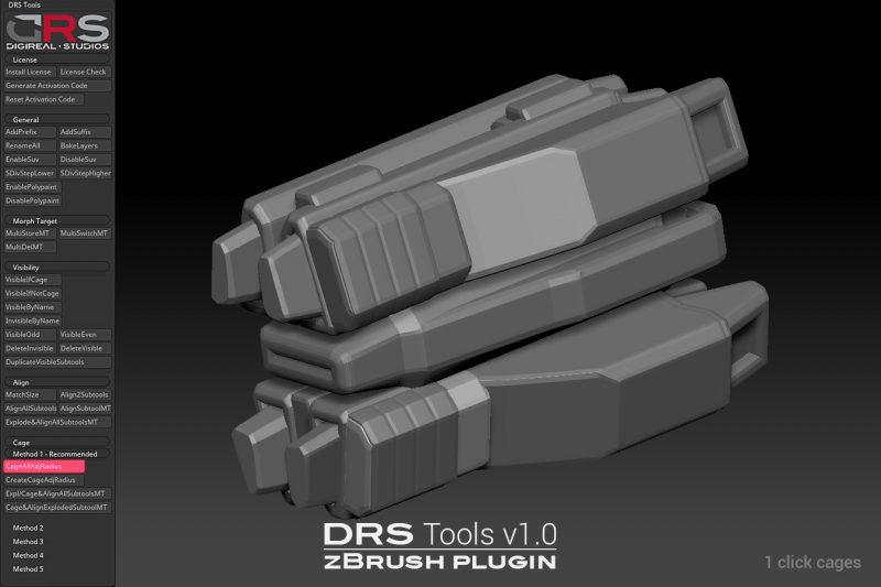 Sample image 5 of DRS Tools zBrush plugin for creating automatic cages for 3d models in 1 click