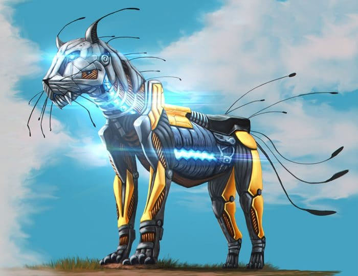 sci-fi tiger design created by a student in our game design and concept art courses in Nicosia, Cyprus
