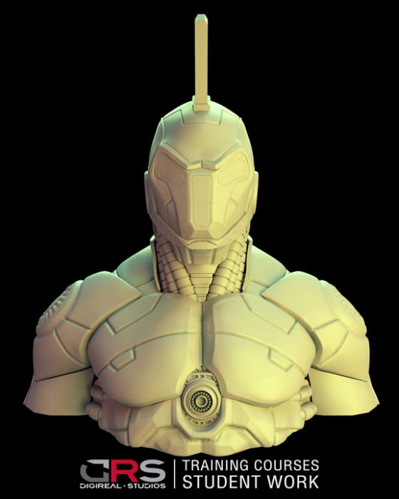 front view of iron man looking bust 3d model created by a student in our game design, 3d modeling & animation course | Cyprus