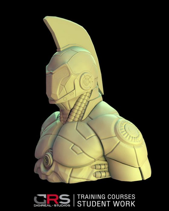 3/4 side view of iron man looking bust 3d model created by a student in our game design, 3d modeling and animation courses