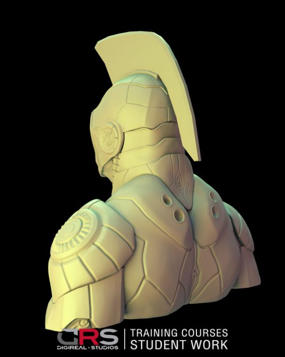 3/4 back view of iron man looking bust 3d model created by a student in our game design, 3d modeling and animation courses