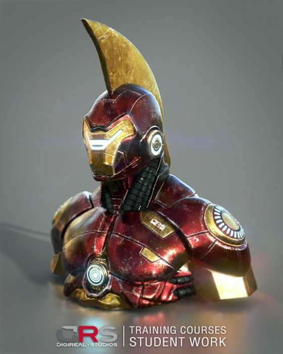 red & gold iron man looking bust 3d model created by a student in our game design and 3d modeling courses in Limassol, Cyprus