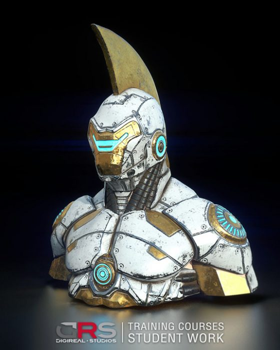 white & gold iron man looking bust 3d model created by a student in our game design & 3d modeling courses in Limassol, Cyprus