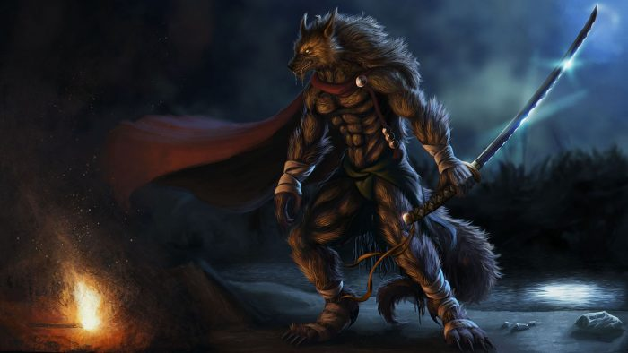 2D character concept art of a werewolf holding a long samurai sword created by a student in our game design courses in Cyprus