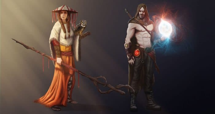 2D character concept art of a female mage & a male witcher created by students in our game design courses in Limassol, Cyprus