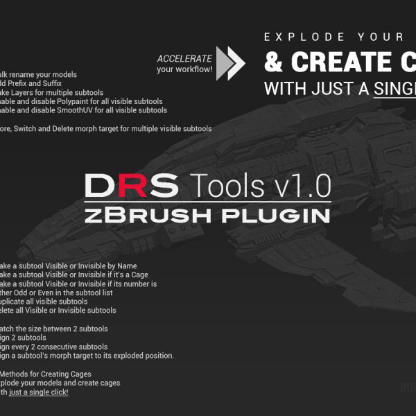 Sample image 1 of DRS Tools zBrush plugin for creating automatic cages for 3d models in 1 click
